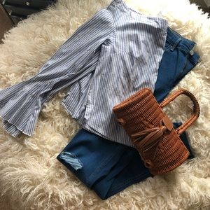 Free people striped off the shoulder bell sleeve